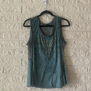Excellent Condition! Miss Me Green Tank top M